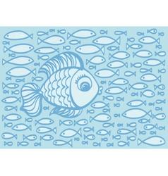Cute cartoon hand drawn fish vector
