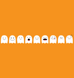 Cute ghost emoji icon set happy halloween vector