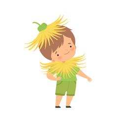 Cute little boy wearing dandelion flower costume vector