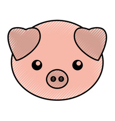 Cute scribble pork cartoon vector