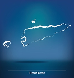 Doodle Map of Timor-Leste vector