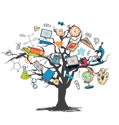 Education icon doodle tree vector
