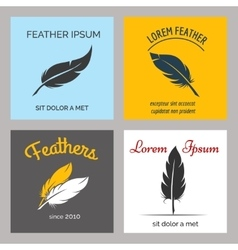 Feather logo set vector