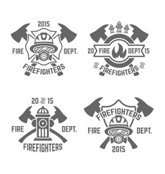 Fire department monochrome emblems vector