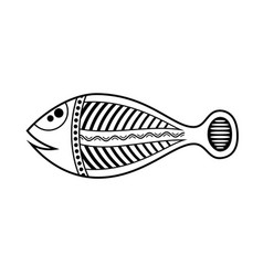 Fish aboriginal art style monochrome isolated on vector