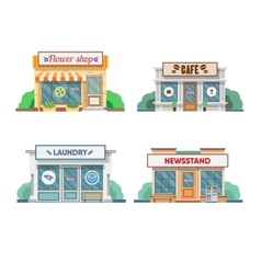 Flower shop laundry barber bakery newsstand vector
