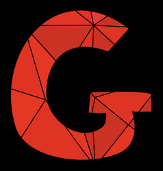 G red alphabet letter isolated on black background vector