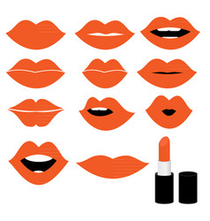 Girl mouths close up with orange lipstick make up vector