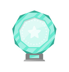 Glassy award trophy of round shape vector