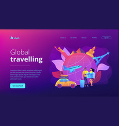 Global travelling concept landing page vector
