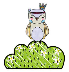 Grated ethnic owl animal in bursh with flowers vector
