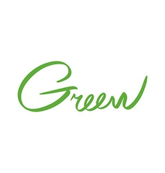 green hand drawn design hand-written name of the vector image