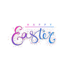 happy easter calligraphy gold glitter vector image