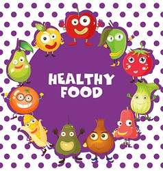 Healthy food with vegetables and fruits vector image vector image