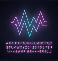 Heart beat neon light icon sound and audio wave vector