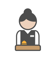 hotel receptionist with uniform and bell vector image vector image