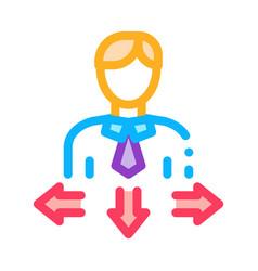 Human man arrows icon outline vector