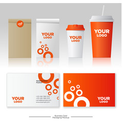 Identity orange style mockup packages paper cup vector