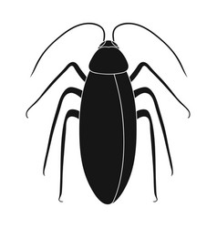 Insect cockroach single icon in black style for vector