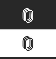 isometric letter o initial or number zero monogram vector image