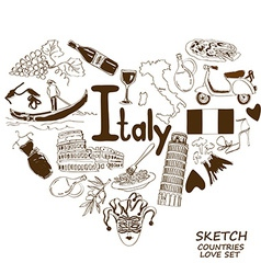 Italian symbols in heart shape concept vector image vector image