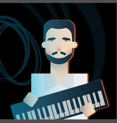 Keyboardist character of a rock band playing music vector