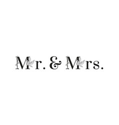 lettering mr and mrs inscription for wedding vector image