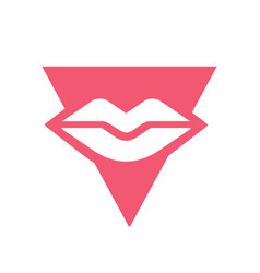 Lips and triangle logo icon design template vector