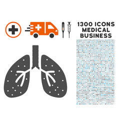 lungs icon with 1300 medical business icons vector image