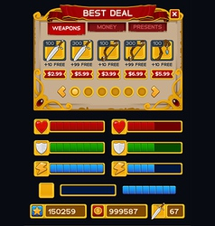 Medieval game GUI pack 5 vector