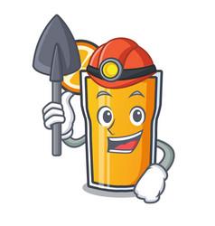 Miner orange juice mascot cartoon vector