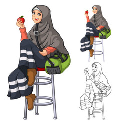 Muslim Woman Fashion Wearing Veil or Scarf vector