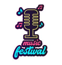 neon music festival retro microphone background ve vector image