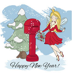 new year fairy merry christmas vector image
