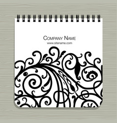 notebook design abstract floral design vector image
