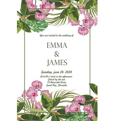 orchid bouquet elegant wedding card template vector image
