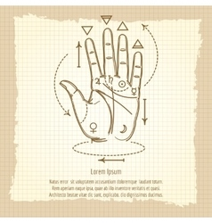 Palmistry sign on vintage background vector image