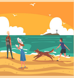 people relaxing on seaside at summer time on vector image