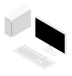 personal computer case keybord and monitor vector image