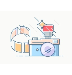 Photo camera with film vector
