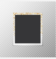 Photo frame with gold stars vector