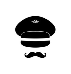pilot avatar pilot with cap and mustache vector image