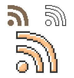 Pixel icon rss sign in three variants fully vector