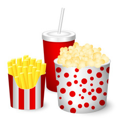 Popcorn french fries juice vector