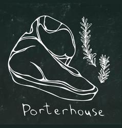 Porterhouse steak cut and rosemary isolated vector