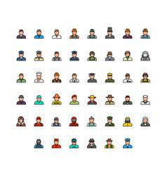 Profession avatars icon set vector