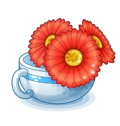 Red flowers in cup isolated on white background vector image