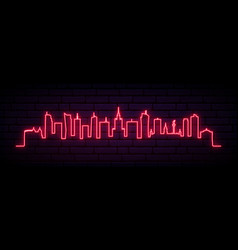 red neon skyline warsaw city bright warsaw vector image