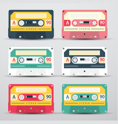 retro audio cassettes set - cassete icons vector image