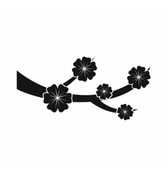 Sakura blossom icon black simple style vector